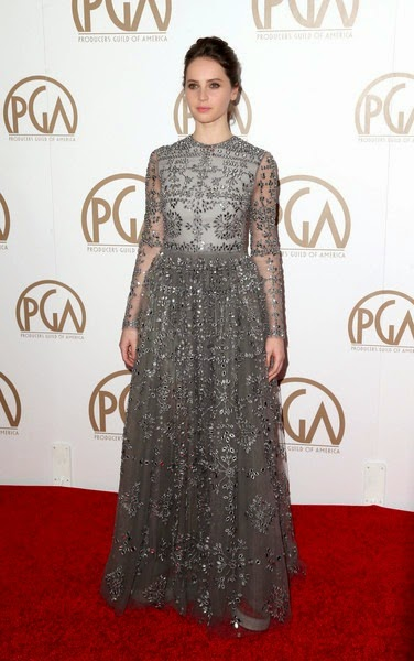 Felicity Jones attends the 26th Annual Producers Guild Of America Awards