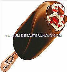 Magnum Temptation Fruit bon bon vanilla ice cream swirled  fruit of the forest sauce, juicy cranberry pieces dark chocolate
