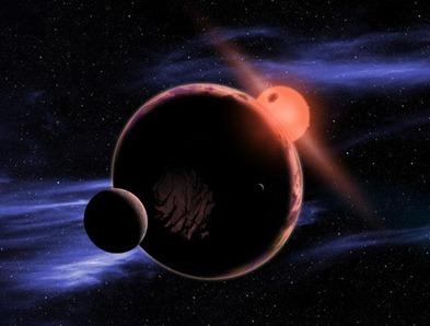 ilustração de um planeta na órbita de uma anã vermelha