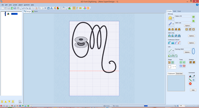 Digitizing in 6D Font Digitizer.