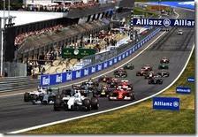 La partenza del gran premio d'Austria 2014