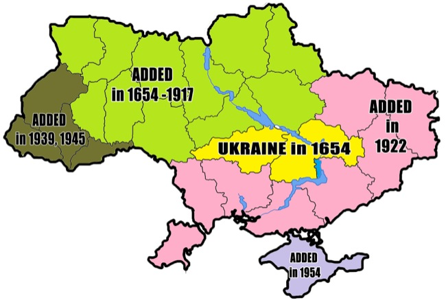 CC Photo Google Image Search Source is upload wikimedia org  Subject is Simplified historical map of Ukrainian borders 1654 2014