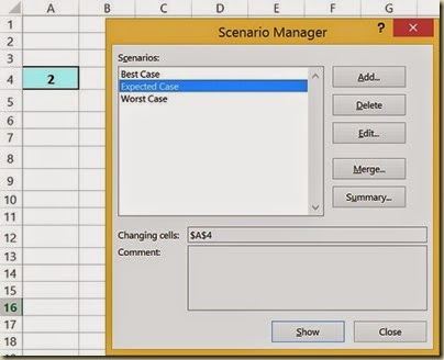 Scenario Analysis in Excel - Select Scenario