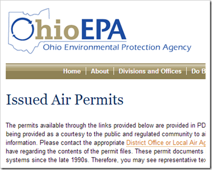 Ohio Environmental Protection Agency Issued Air Permits