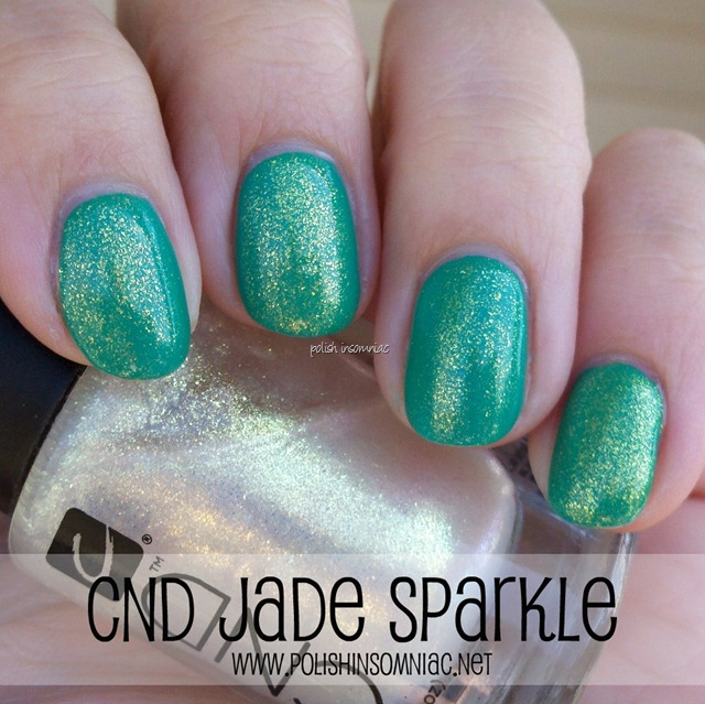 CND Jade Sparkle over China Glaze Four Leaf Clover 2
