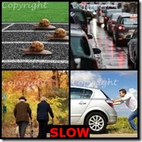 SLOW- 4 Pics 1 Word Answers 3 Letters