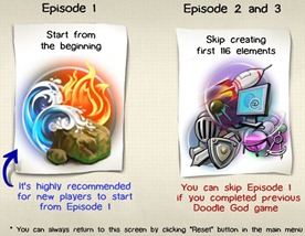 Tela de escolha dos episódios de Doodle God 2