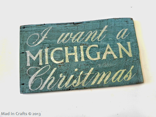 Michigan Christmas wood sign