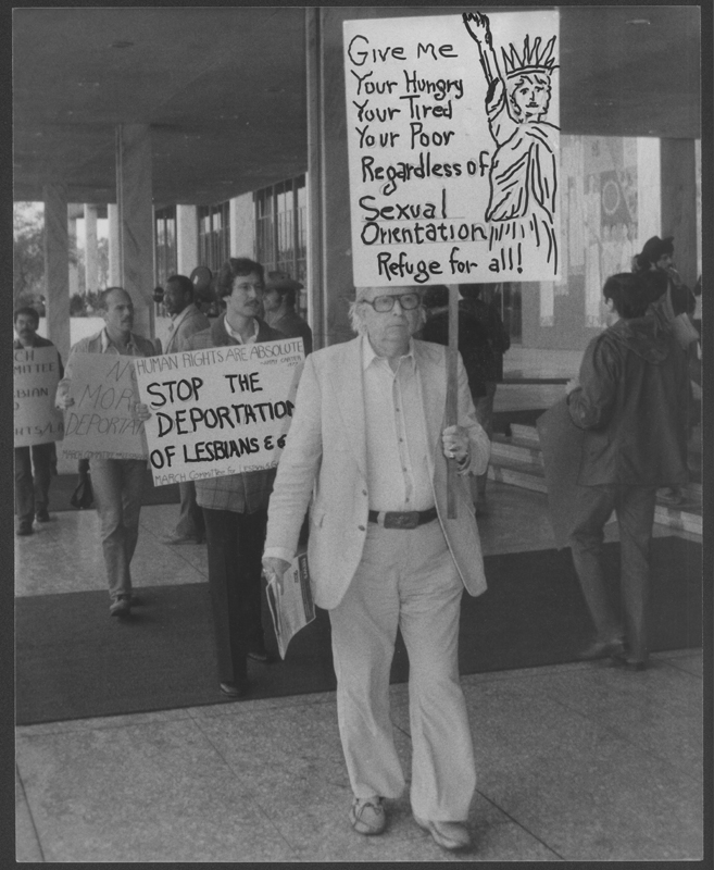 Morris Kight protesting the Anthony Sullivan deportation hearing at the Federal Building in Westwood. 1979.
