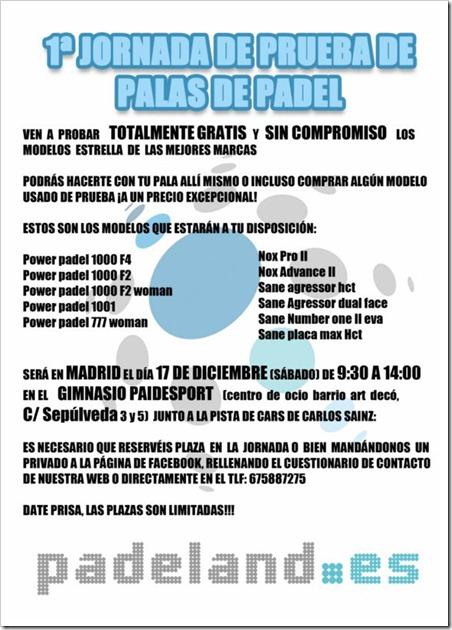 1ª Jornada: Prueba de palas de pádel de la tienda padeland.es en Madrid, 17 diciembre.