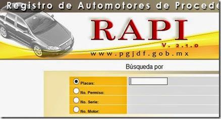 rapi servicio de  registro de automotores de procedencia ilicita DF