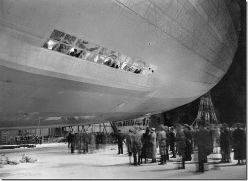 Hindenburg in hangar with spectators
