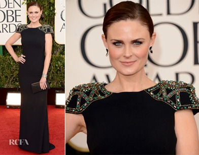 Emily Deschanel de Badgley Mischka