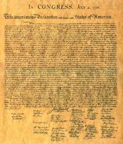 Image of the Original Declaration of Independence