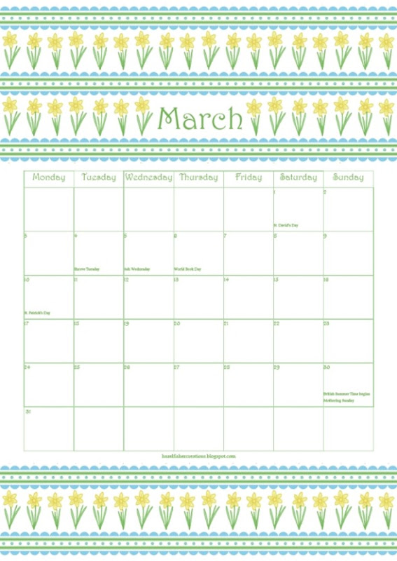 March free printable calender daffodil
