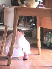 Easter Sunday Bella crawling under table 2012