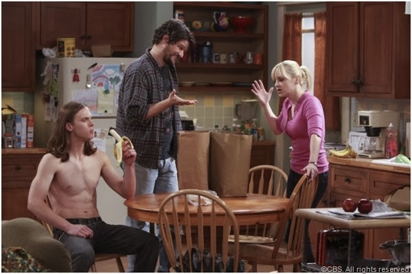 (L-R) Spencer Daniels, Matt Jones and Anna Faris star in MOM.