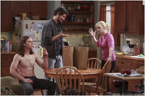 (L-R) Spencer Daniels, Matt Jones and Anna Faris star in MOM.