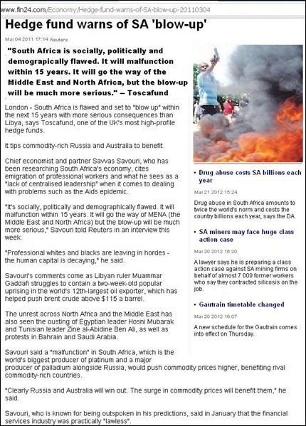 TOSCAFUNDSAVVAS SAVOURI WARNS OF SOUTH AFRICAN BLOW UP COUNTRY IS FLAWED MAR42012 reuters