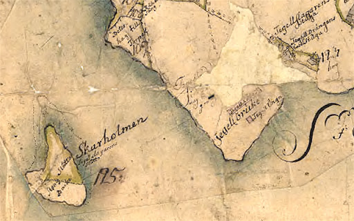 Karta över Skarholmen och Graneberg från 1732