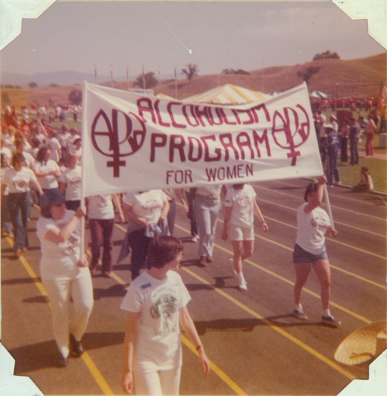 The Alcholism Program for Women (APW) marches for the first time in the Alcoholic Olympics. May 10, 1975.