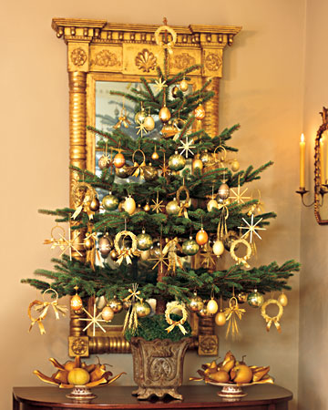 In Poland the Christmas season is seen as a time of renewal.   This tree pays a tribute to Martha's Polish heritage with its straw ornaments that symbolize thanksgiving for the harvest and hope for good things in the coming year. Eggs are also hung to represent the promise of future prosperity.(marthastewart.com)