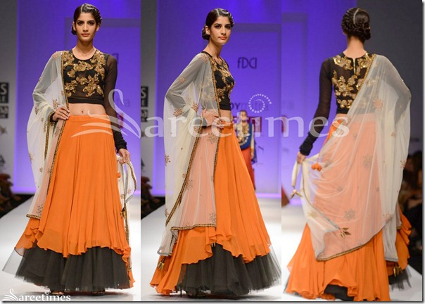 Joy_Mitra_Orange_Lehenga