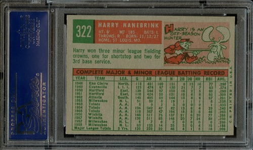 1959 Topps 322B harry hanebrink no trade statement back