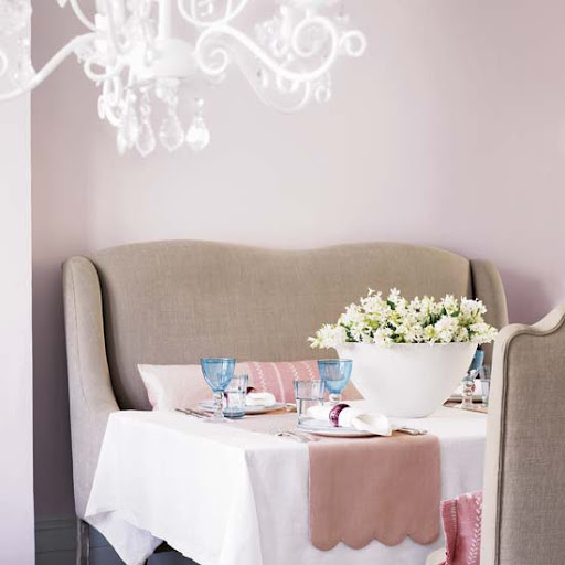 A perfectly pastelled setting for this banquette. (via littleemmaenglishhome.blogspot.com)