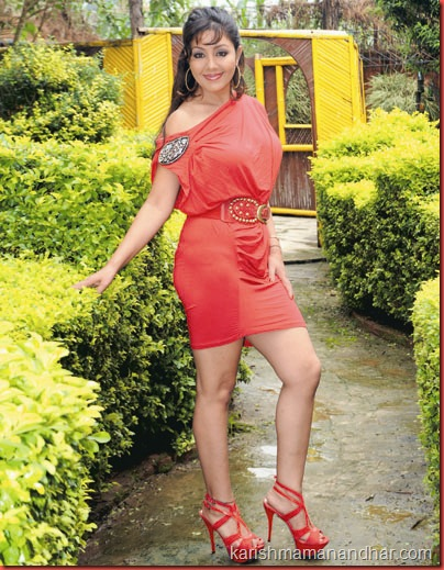 karishma_manandhar_red_dress_high_heels
