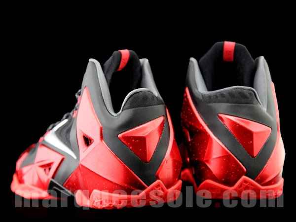 Detailed Look at Nike LeBron XI 11 Black and Red 8220Heat8221
