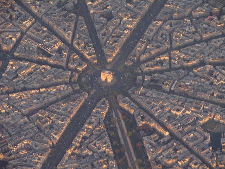 Imagini din avion: Arcul de Triumf Paris