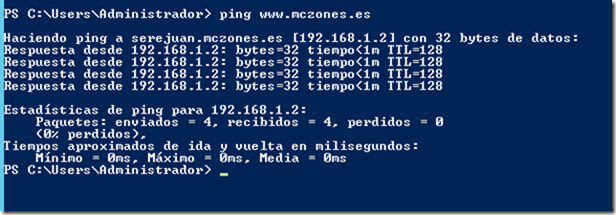 ping a www.mczones.es