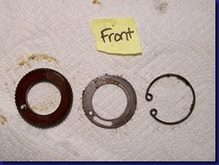 Textolite gear, spring & retaining washer