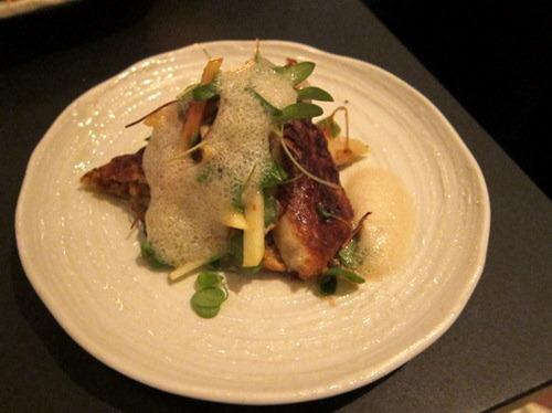 Smoked eel crepe with apple, & umeboshi salad