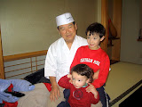 Kai and Eidan with with Master Sushi Chef Shigeo Mori