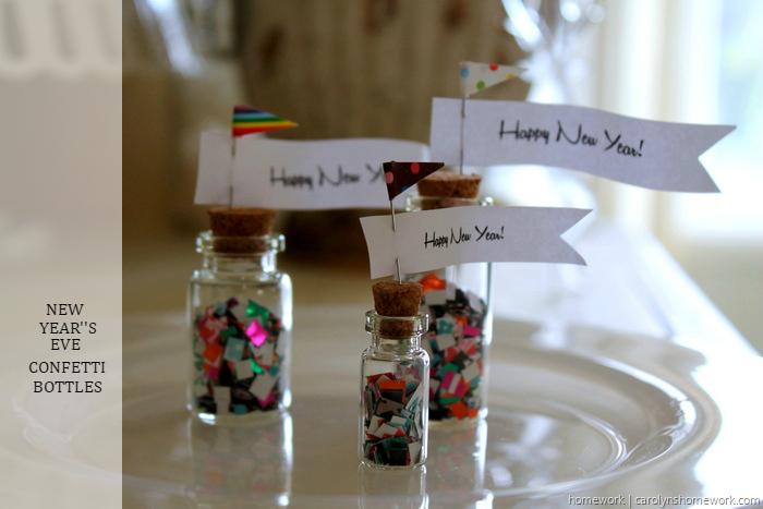 New Year's Confetti Bottles via homework ~ carolynshomework.com