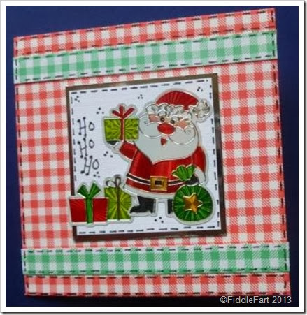 red gingham santa sticker card