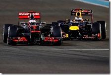 Vettel insegue Button nel gran premio di Abu Dhabi 2012