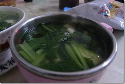 Choy sum soup