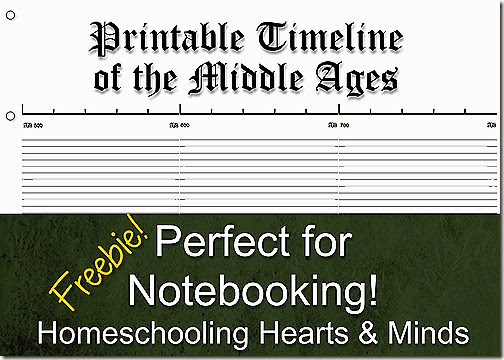 Free Printable Middle Ages Timeline for Notebooking @ Homeschooling Hearts & Minds