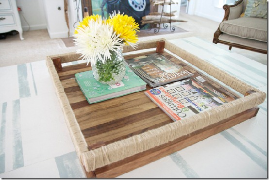 diy projects with jute--build a wood table top tray with jute details
