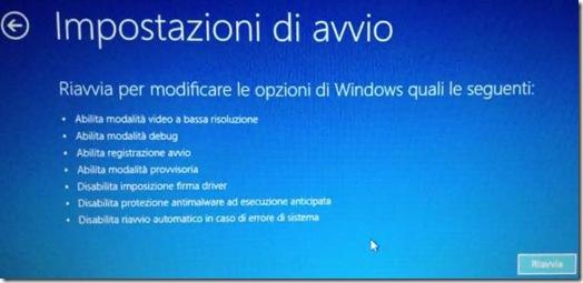 Impostazioni di riavvio per modificare le opzioni di Windows 8