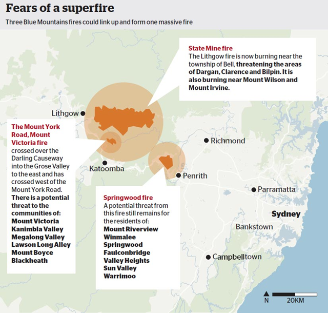 Map showing possible development of a superfire in New South Wales, as three bushfires in the Blue Mountains may merge, 21 October 2013. Graphic: Sydney Morning Herald