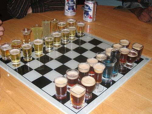 Chess where DEAD Pieces ARE TO BE DRUNK by the killer.
