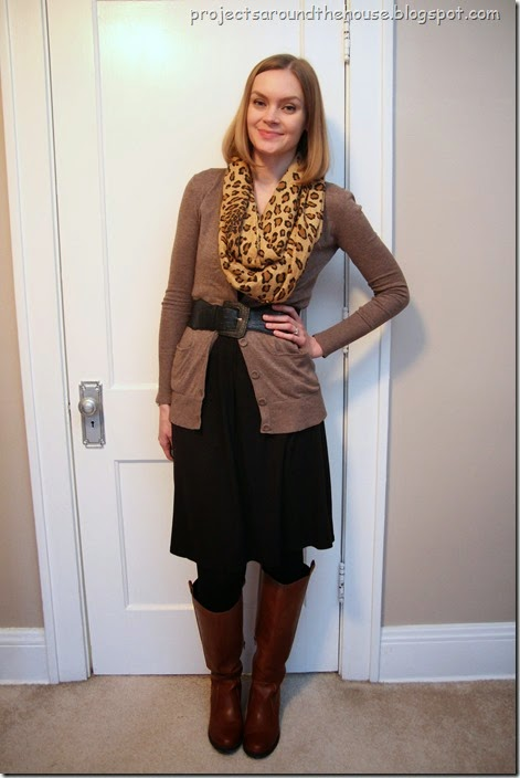 Black dress, brown cardigan, leopard scarf
