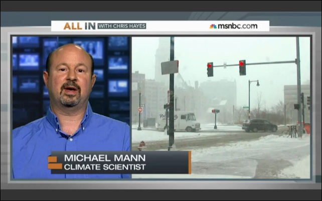 On 3 January 2014, climate scientist Michael Mann went on MSNBC's 'All In With Chris Hayes' to explain that yes, it can still get cold in the winter even though climate change is real. There can even be ice and snow. Seasons still happen. There's no shortage of evidence to support human-caused climate change, and none of it means weather is over. Photo: MSNBC