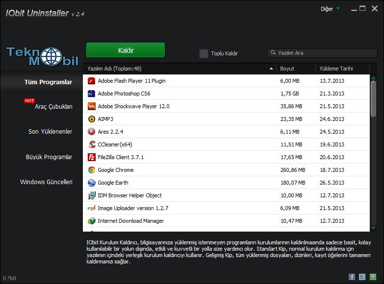 IObit Uninstaller v2.4.7.340 Türkçe