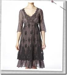 Contrast Dot Sleeve Dress Grey