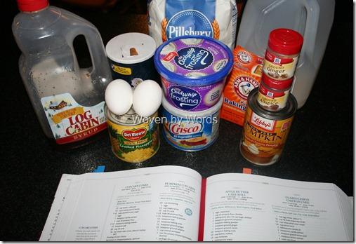 Pumpkin Cupcake Ingredients